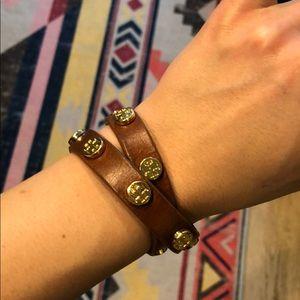 Tory Burch Leather Wrap Bracelet, Cognac